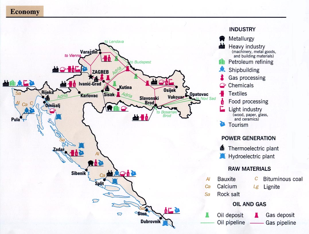 Mapa de la Actividad Económica de Croacia