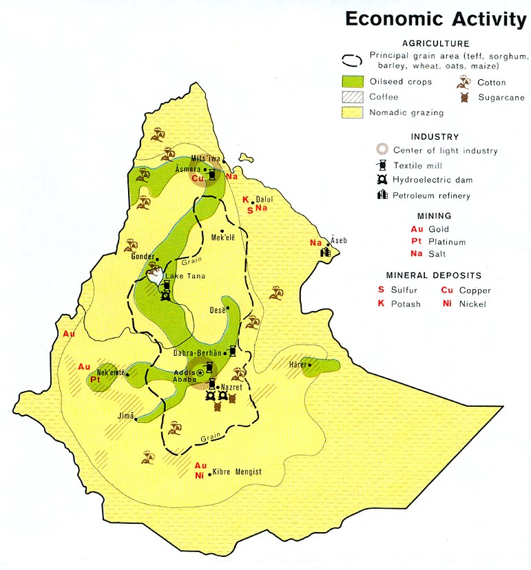 Mapa de la Actividad Económica de Etiopía