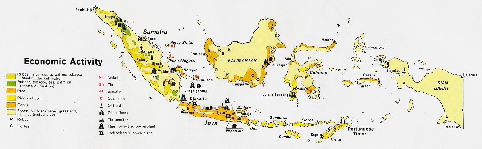 Mapa de la Actividad Económica de Indonesia