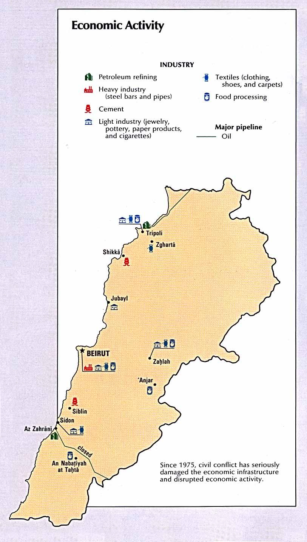 Mapa de la Actividad Económica de Líbano