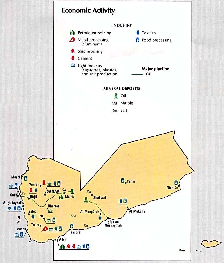 Mapa de la Actividad Económica de Yemen
