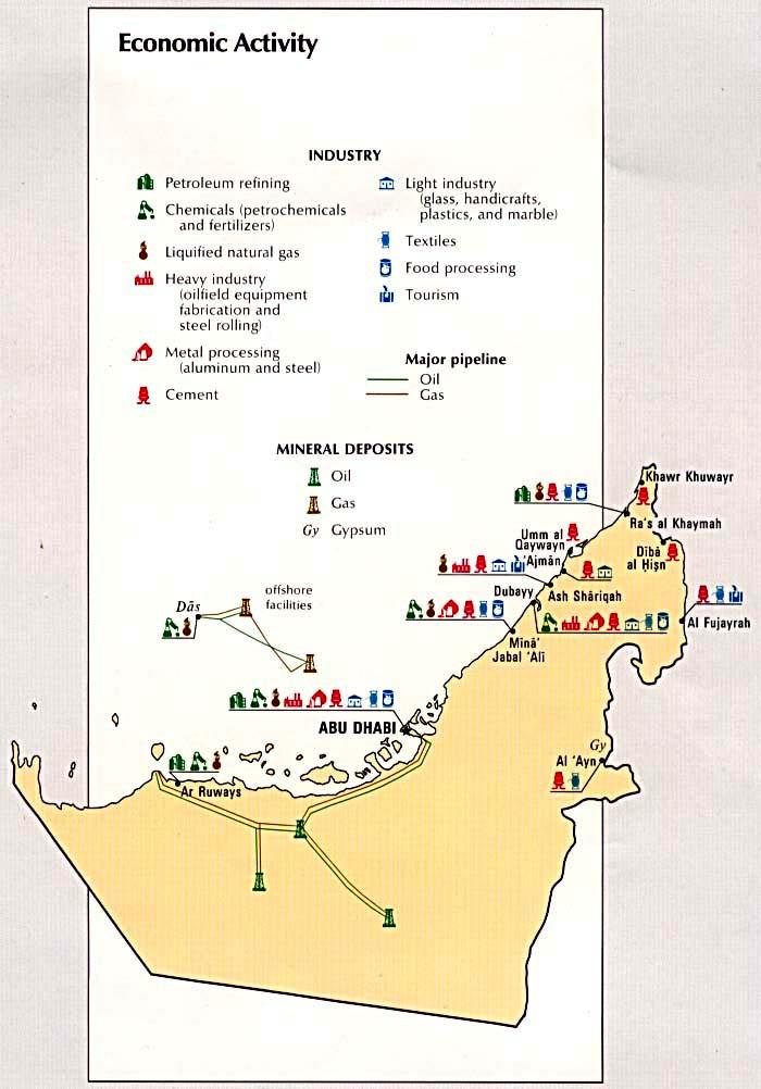Mapa de la Actividad Económica de los Emiratos Árabes Unidos