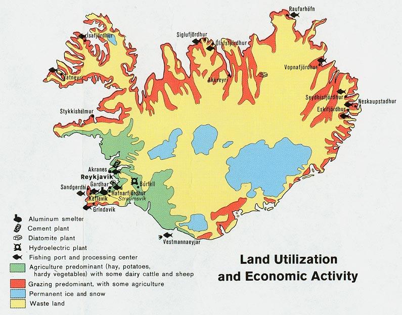 Mapa de la Actividad Económica y del Uso de la Tierra de Islandia
