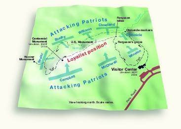 Mapa de la Batalla Kings Mountain, Carolina del Norte, Estados Unidos, Octubre 7, 1780