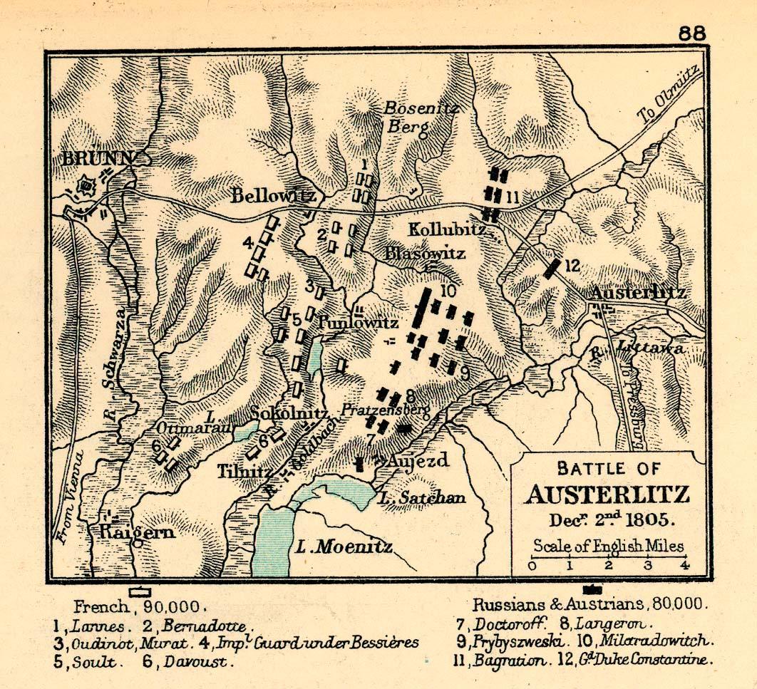 Mapa de la Batalla de Austerlitz 1805