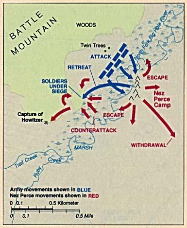 Mapa de la Batalla de Big Hole, Montana, Estados Unidos, 9 Agosto 1877