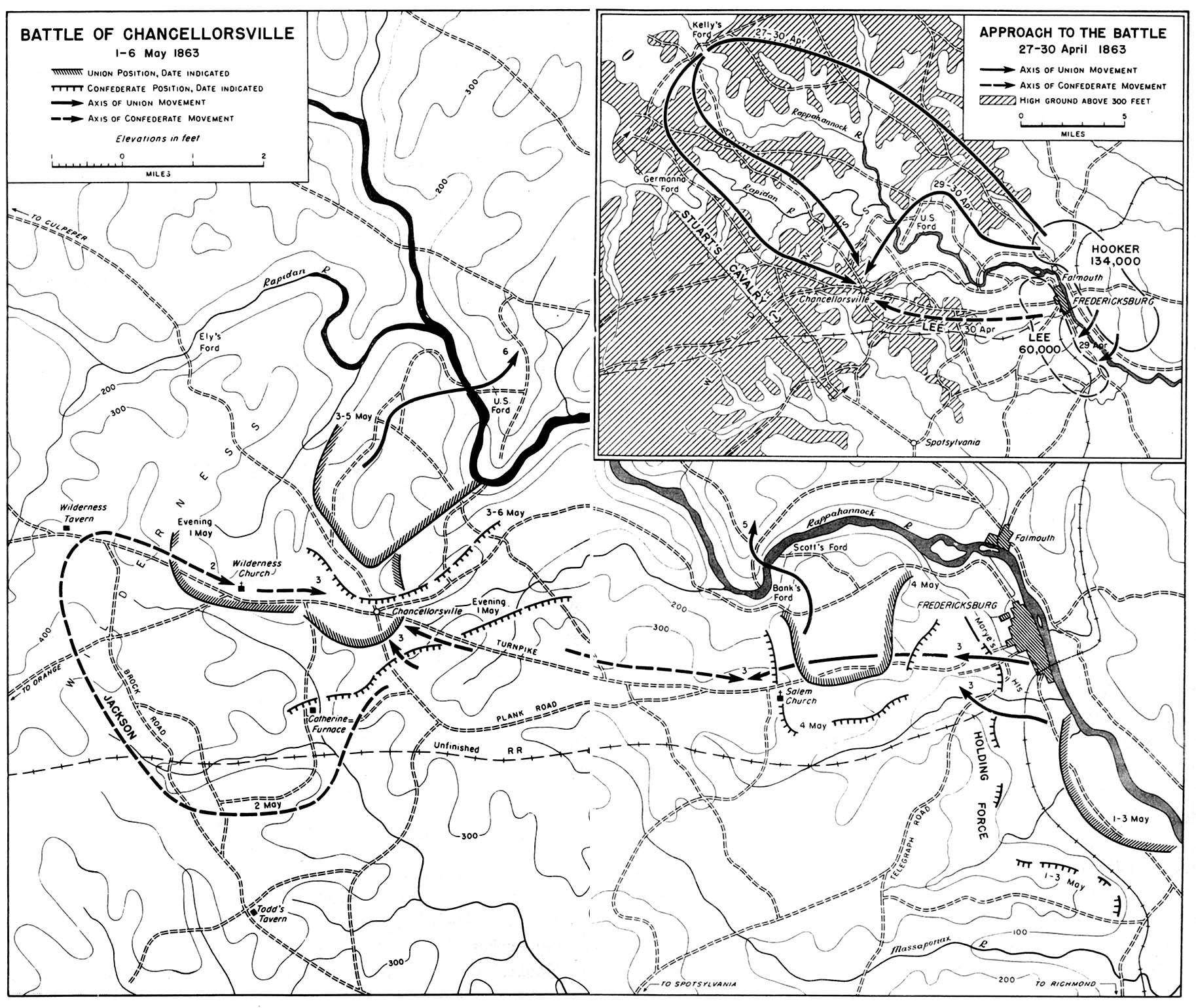 Mapa de la Batalla de Chancellorsville, Guerra Civil Estadounidense,  1-6 Mayo 1863
