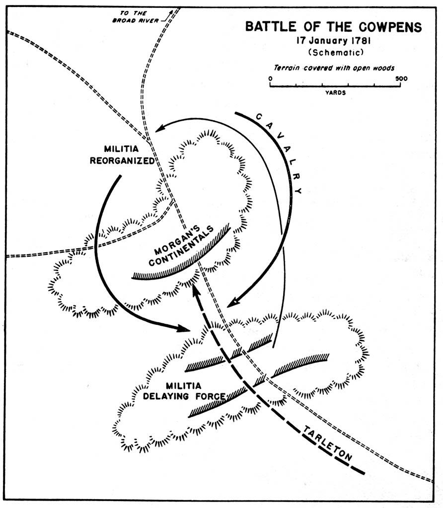 Mapa de la Batalla de Cowpens 17 Enero 1781, Guerra de la Independencia