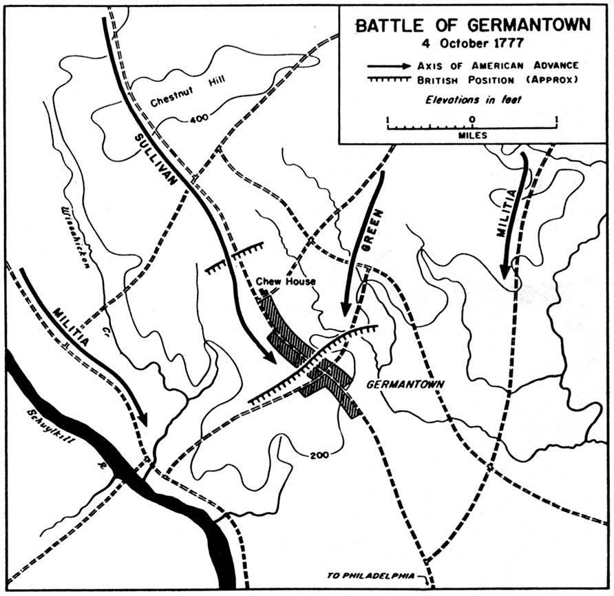 Map of the Battle of Germantown 4 October 1777, American Revolutionary War