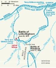 Mapa de la Batalla de Little Bighorn, Montana, Estados Unidos, Junio 25 - 26, 1876