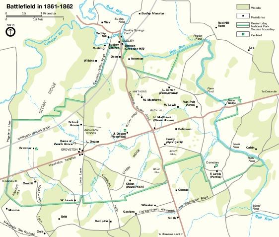 Mapa de la Batalla de Manassas, Virginia, Estados Unidos 1861 - 1862