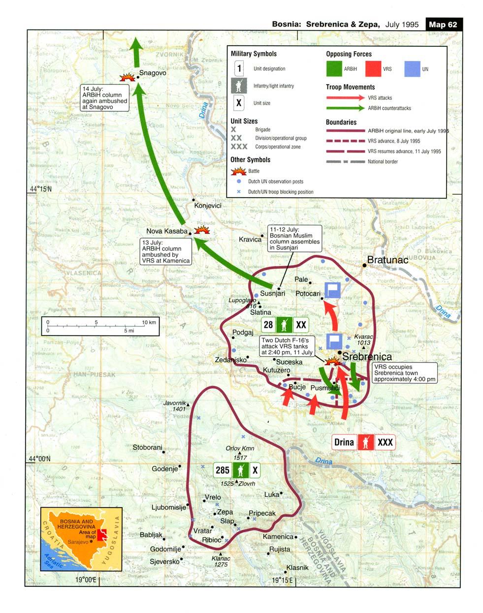 Mapa de la Batalla de Srebrenica y Zepa, Bosnia y Herzegovina, Julio 1995