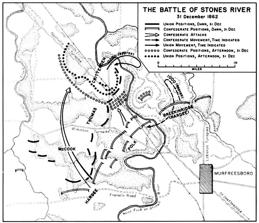 Mapa de la Batalla de Stones River, Guerra Civil Estadounidense,  31 Diciembre 1862