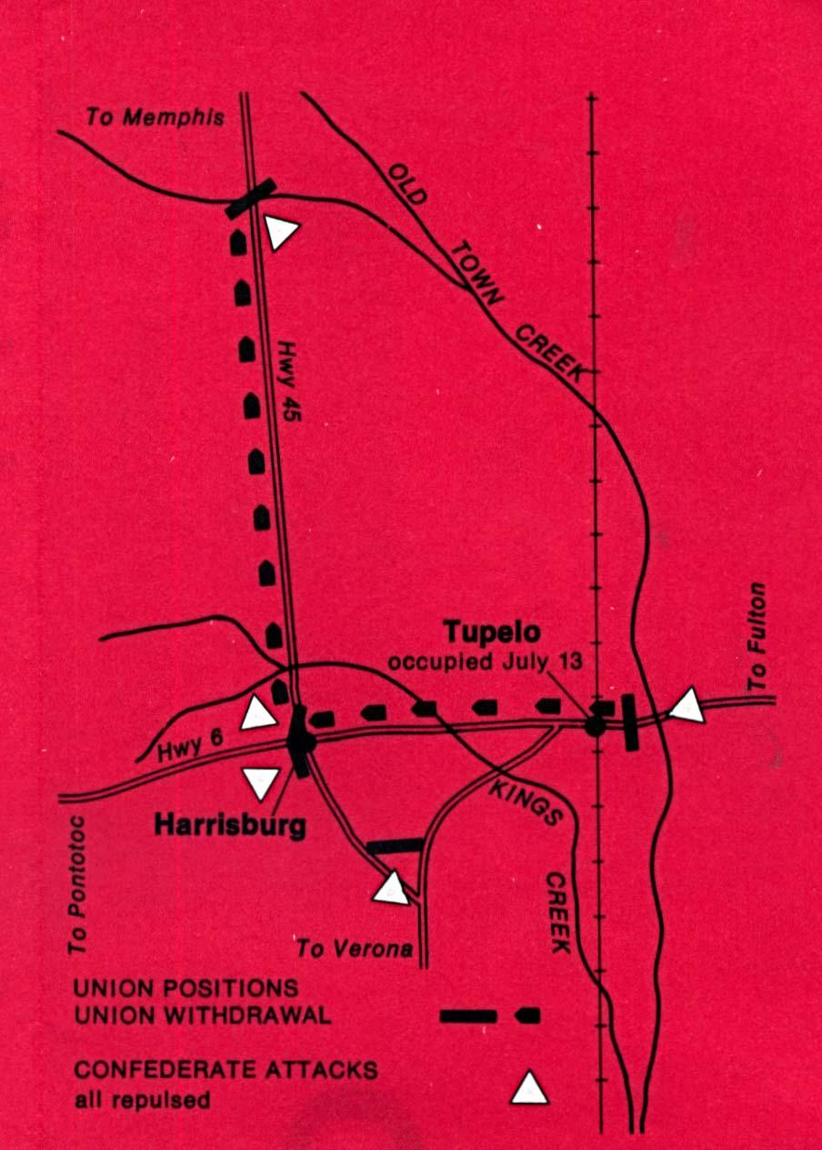 Mapa de la Batalla de Tupelo, Misisipi, Estados Unidos, 14 - 15 de Julio, 1864