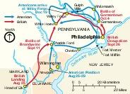 Mapa de la Batalla de Valle Forge, Pensilvania, Estados Unidos  1777 – 1778