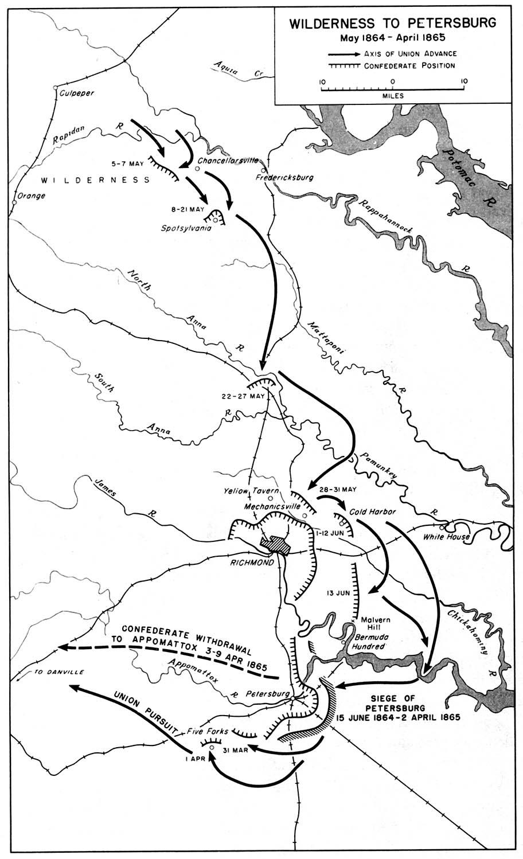 Mapa de la Campaña Wilderness Hacia Petersburg, Guerra Civil Estadounidense, Mayo 1864-Abril 1865