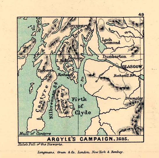Argyle's Campaign Map, Scotland 1685