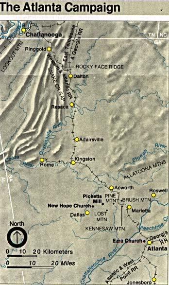 Mapa de la Campaña de Atlanta Campaña, Georgia, Estados Unidos, Mayo 7 – Septiembre 2, 1864