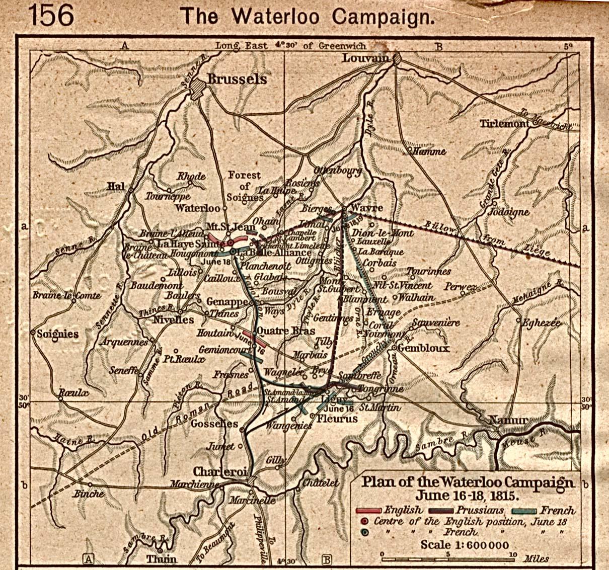 Mapa de la Campaña de Waterloo, 16 - 18 Junio, 1815