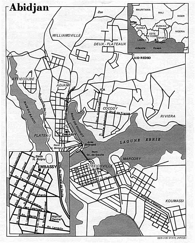 Mapa de la Ciudad de Abiyán, Côte d'Ivoire