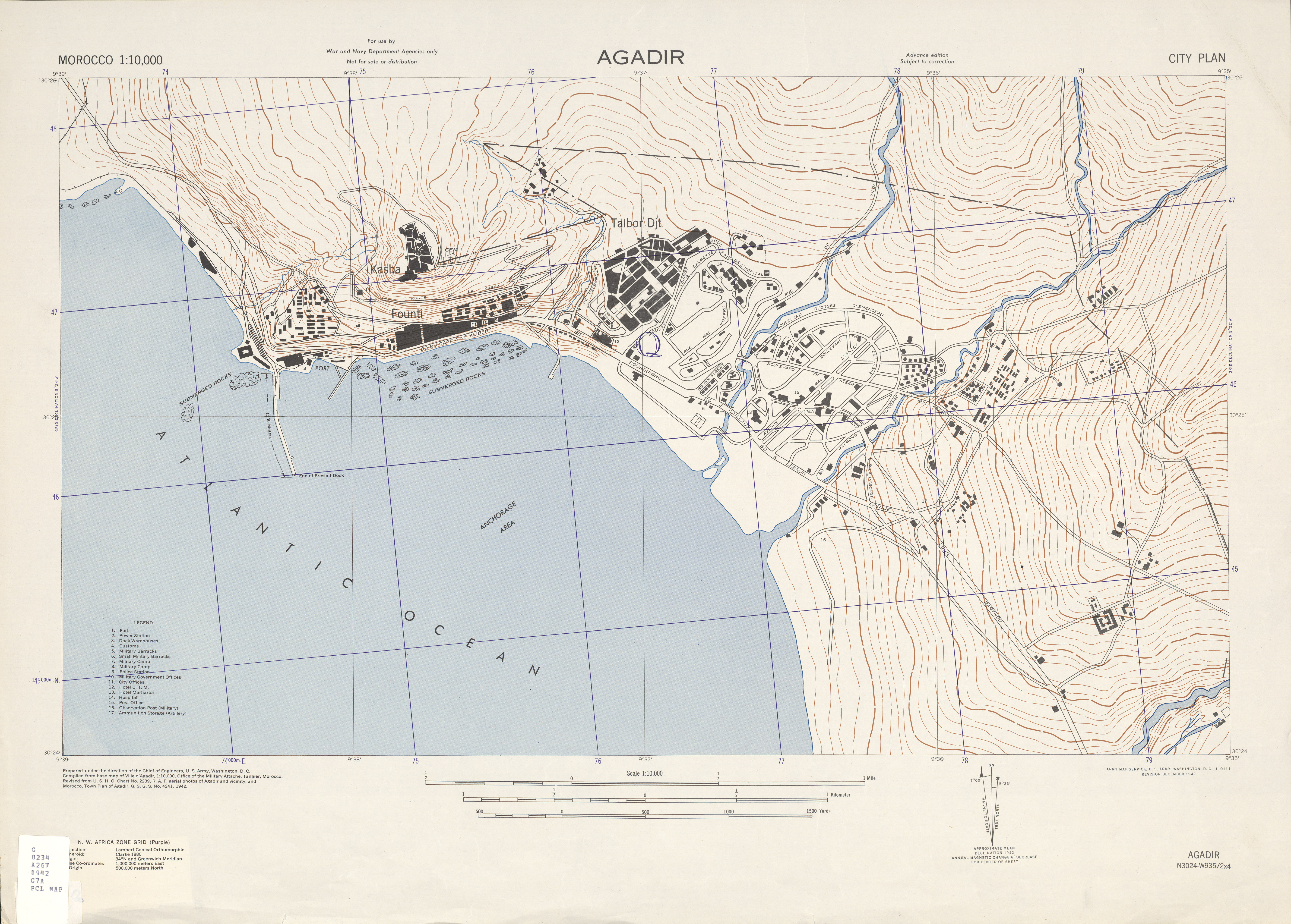 Agadir City Map, Morocco 1942