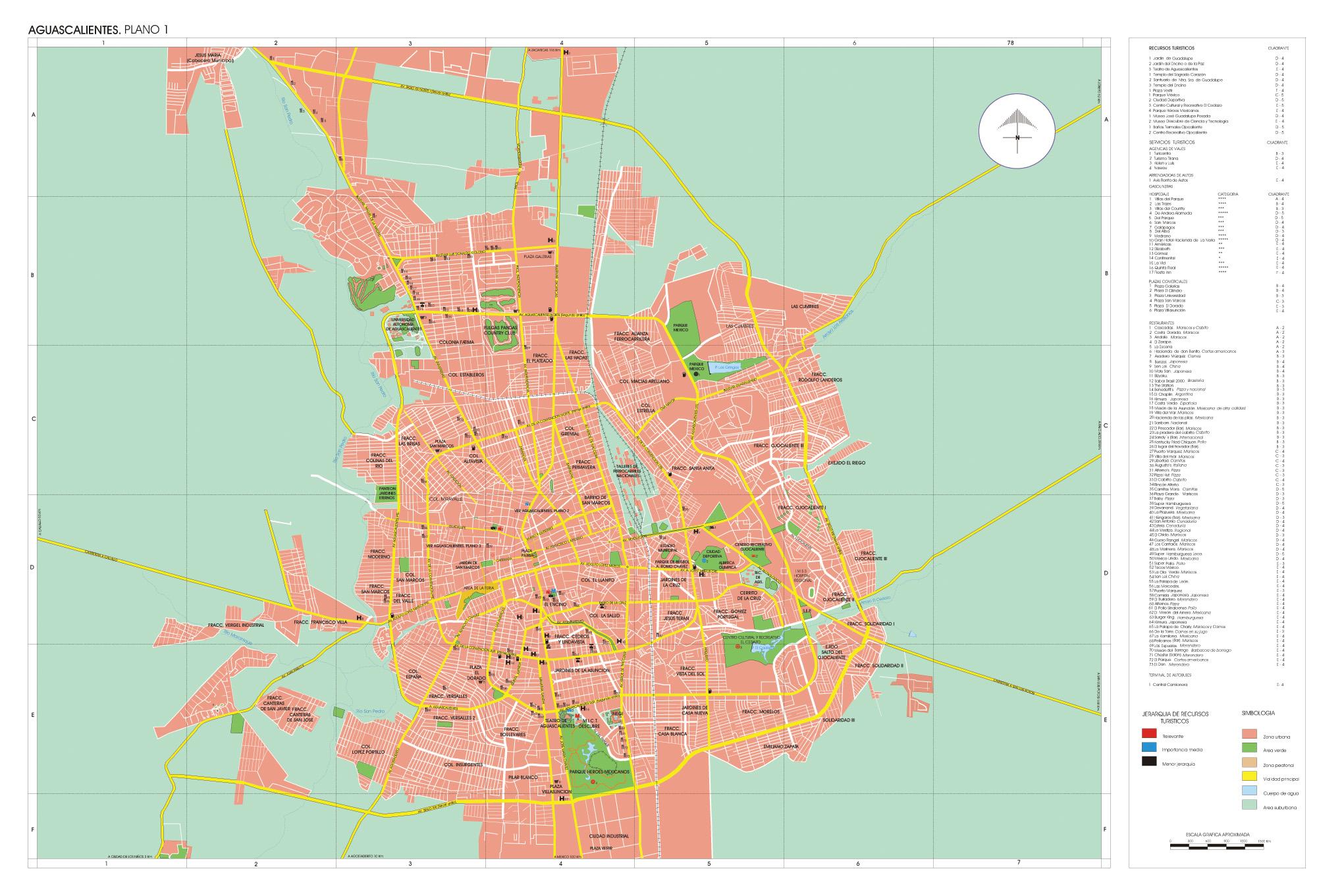 Mapa de la Ciudad de Aguascalientes, Mexico