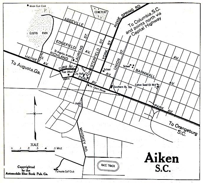 Mapa de la Ciudad de Aiken, Carolina del Sur, Estados Unidos 1919