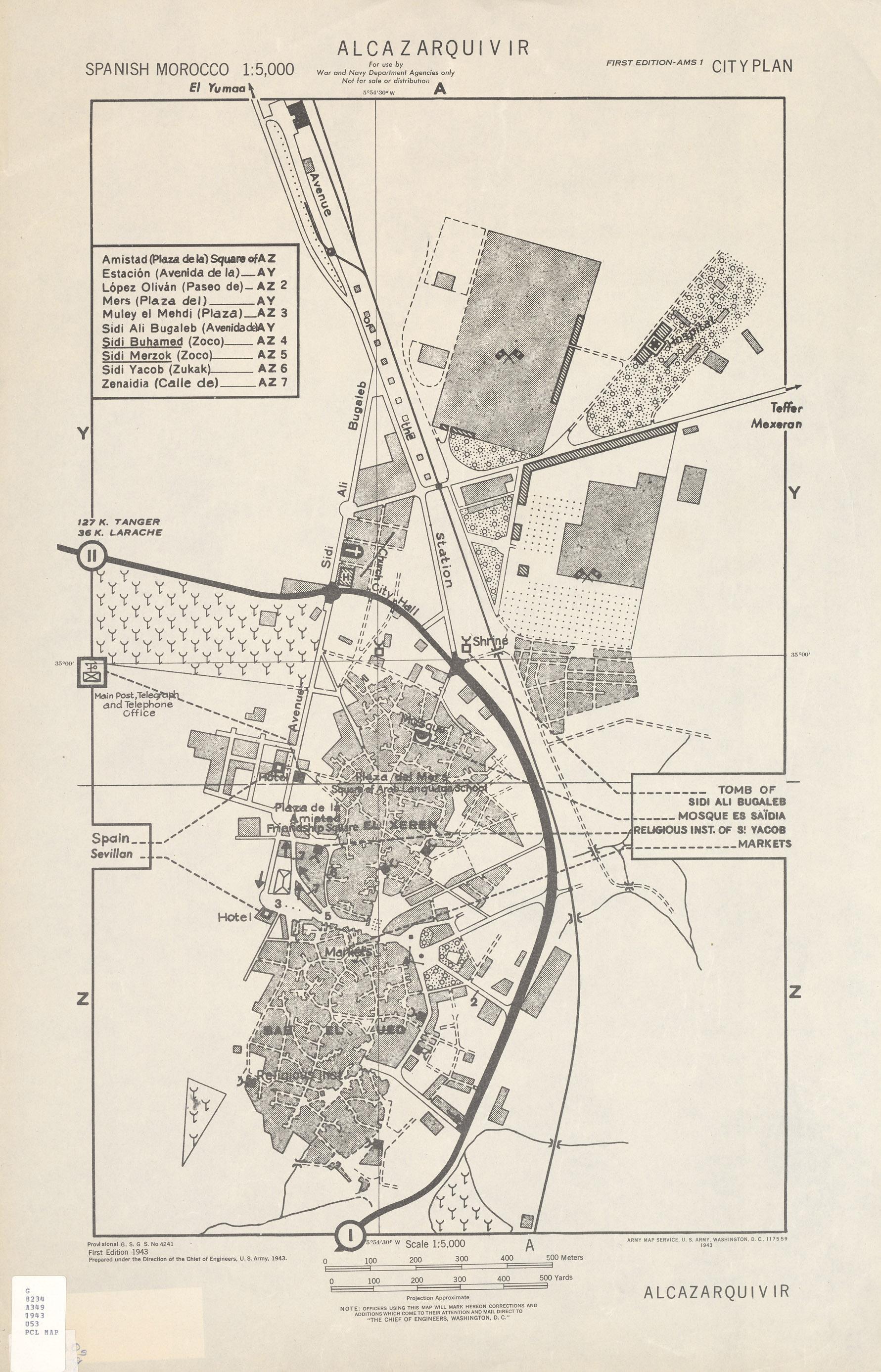 Ksar-el-Kebir (Alcazarquivir) City Map, Morocco 1943