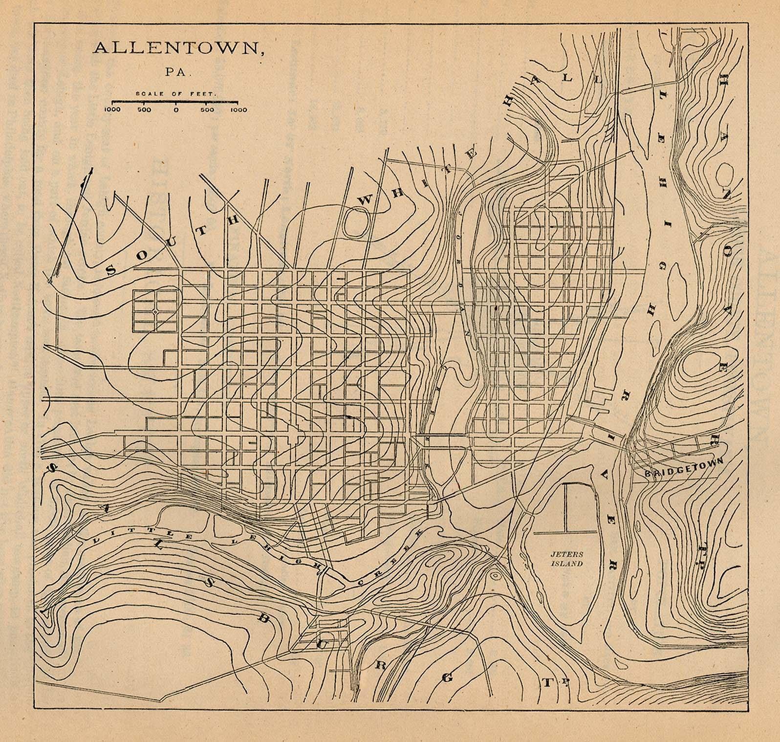 Allentown City Map, Pennsylvania, United States 1880