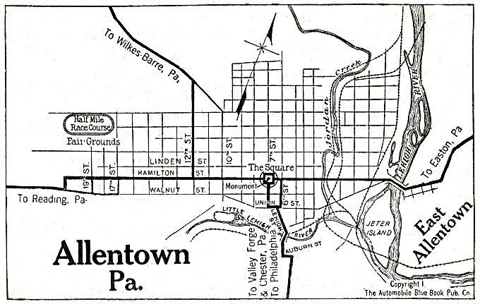 Mapa de la Ciudad de Allentown, Pensilvania, Estados Unidos 1920