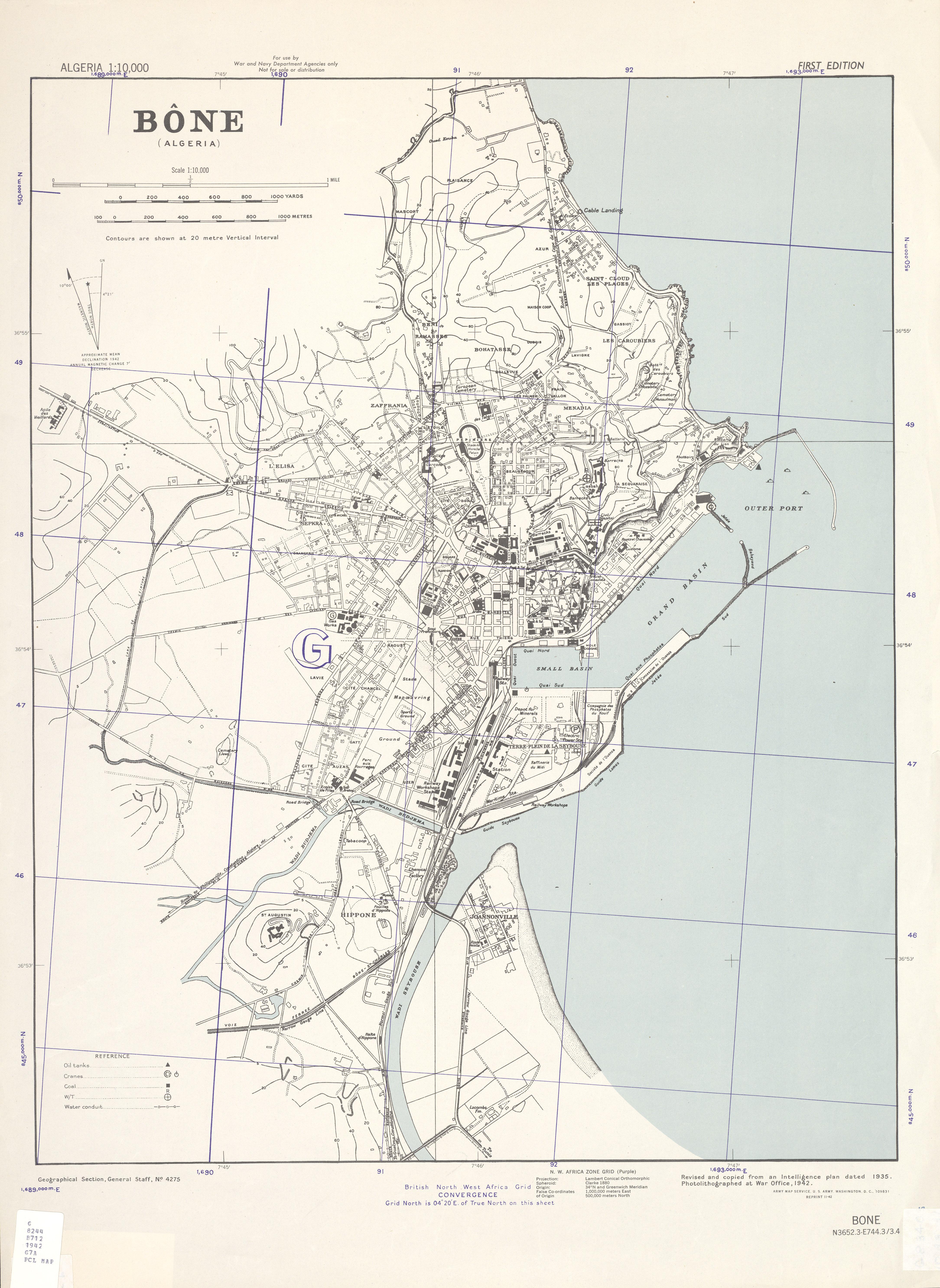 Mapa de la Ciudad de Annaba (Bône), Argelia 1942