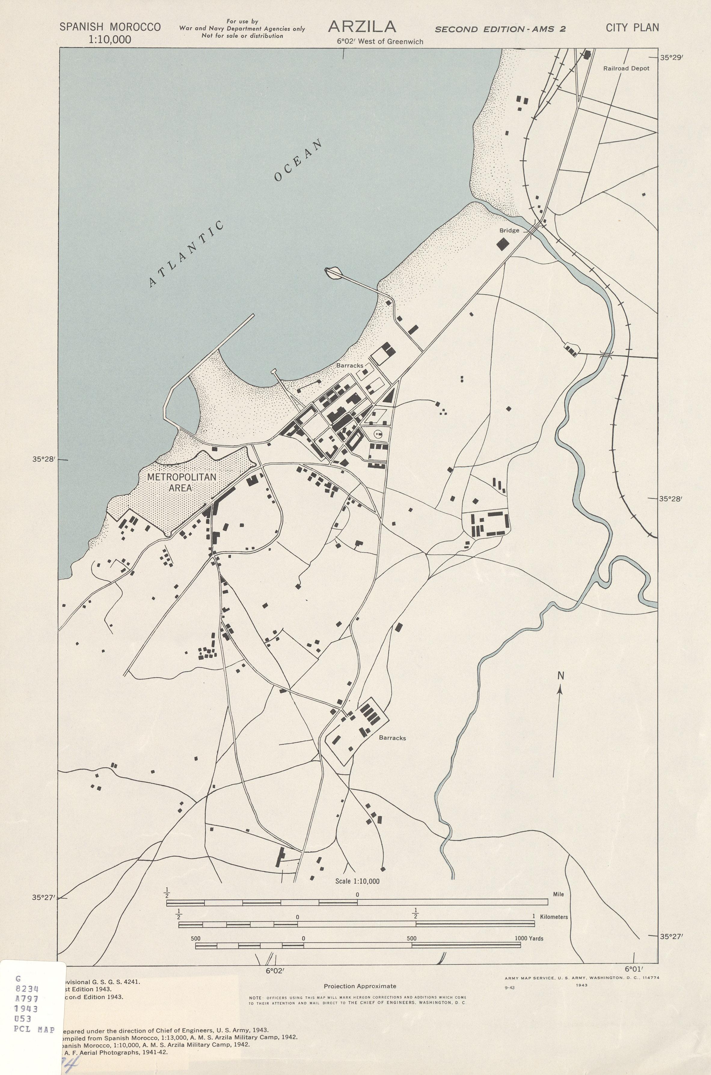 Arzila City Map, Morocco 1943