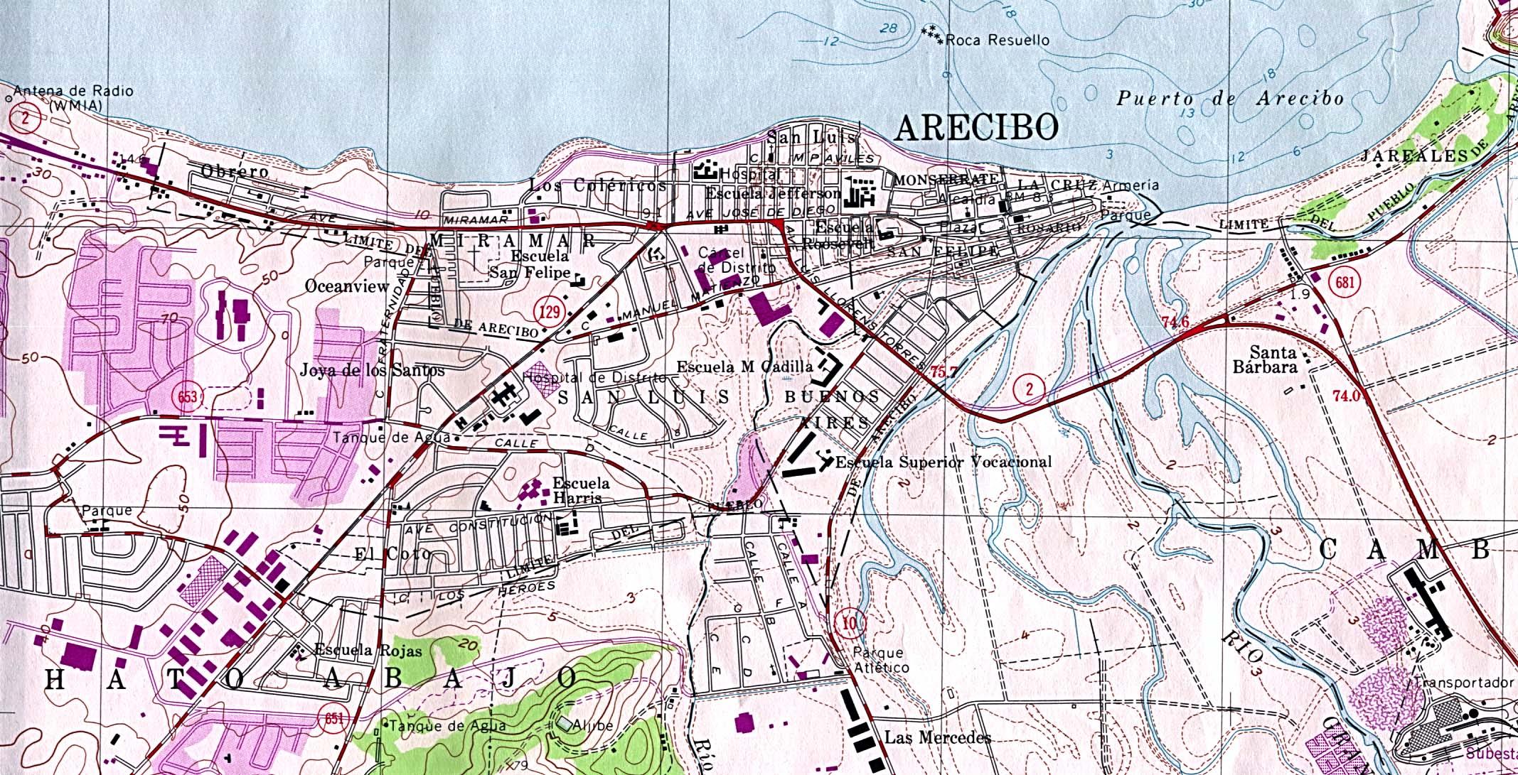 Arecibo City Map, Puerto Rico