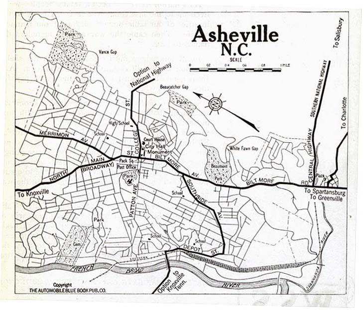 Mapa de la Ciudad de Asheville, Carolina del Norte, Estados Unidos 1919