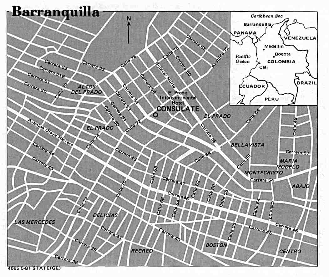 Barranquilla City Map, Colombia
