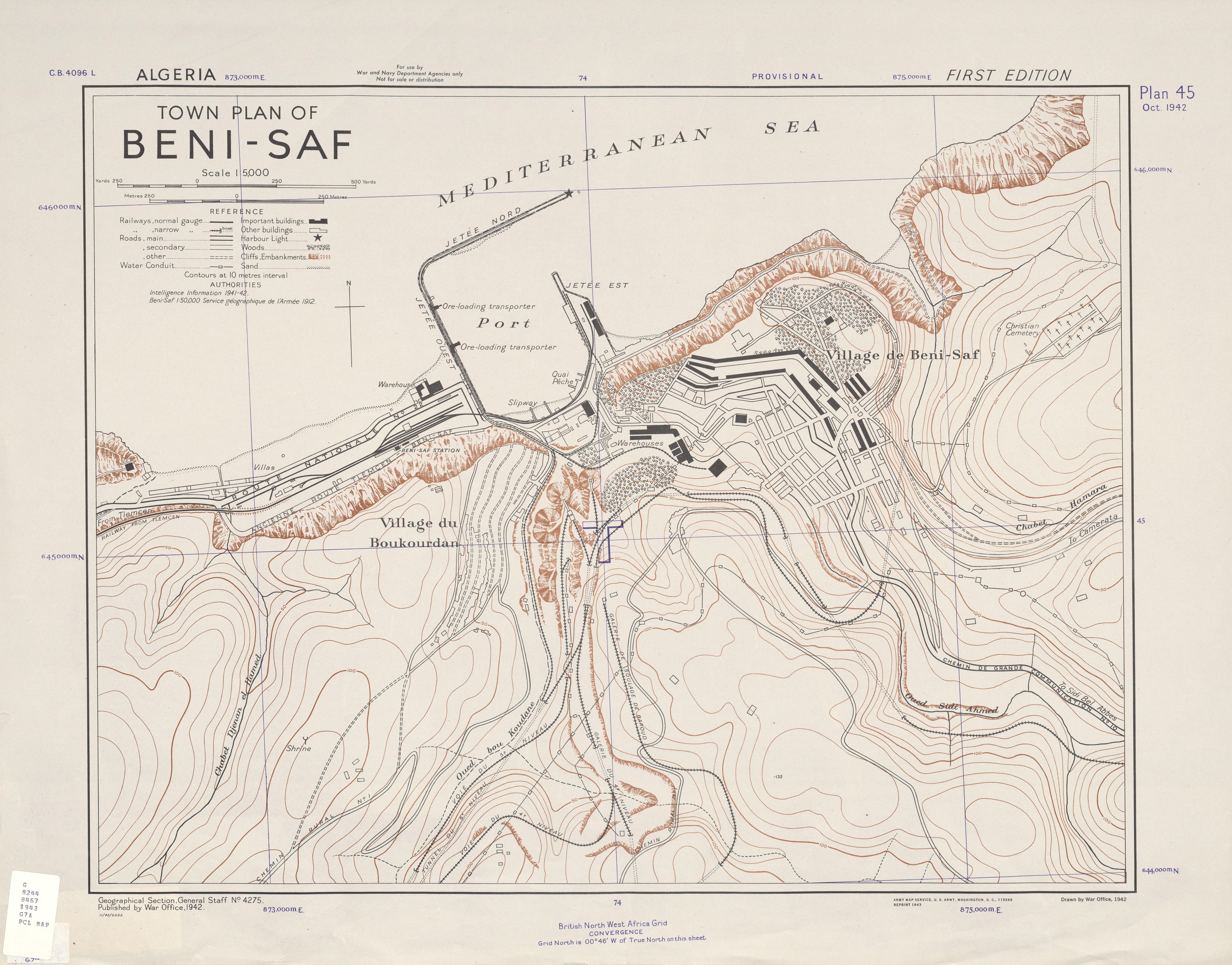 Mapa de la Ciudad de Béni Saf, Argelia 1943