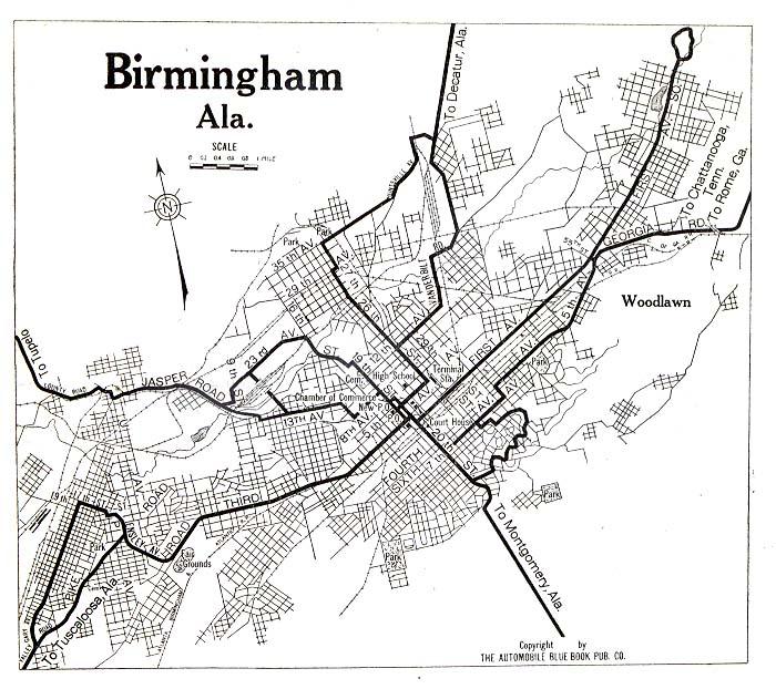 Mapa de la Ciudad de Birmingham, Alabama, Estados Unidos 1919