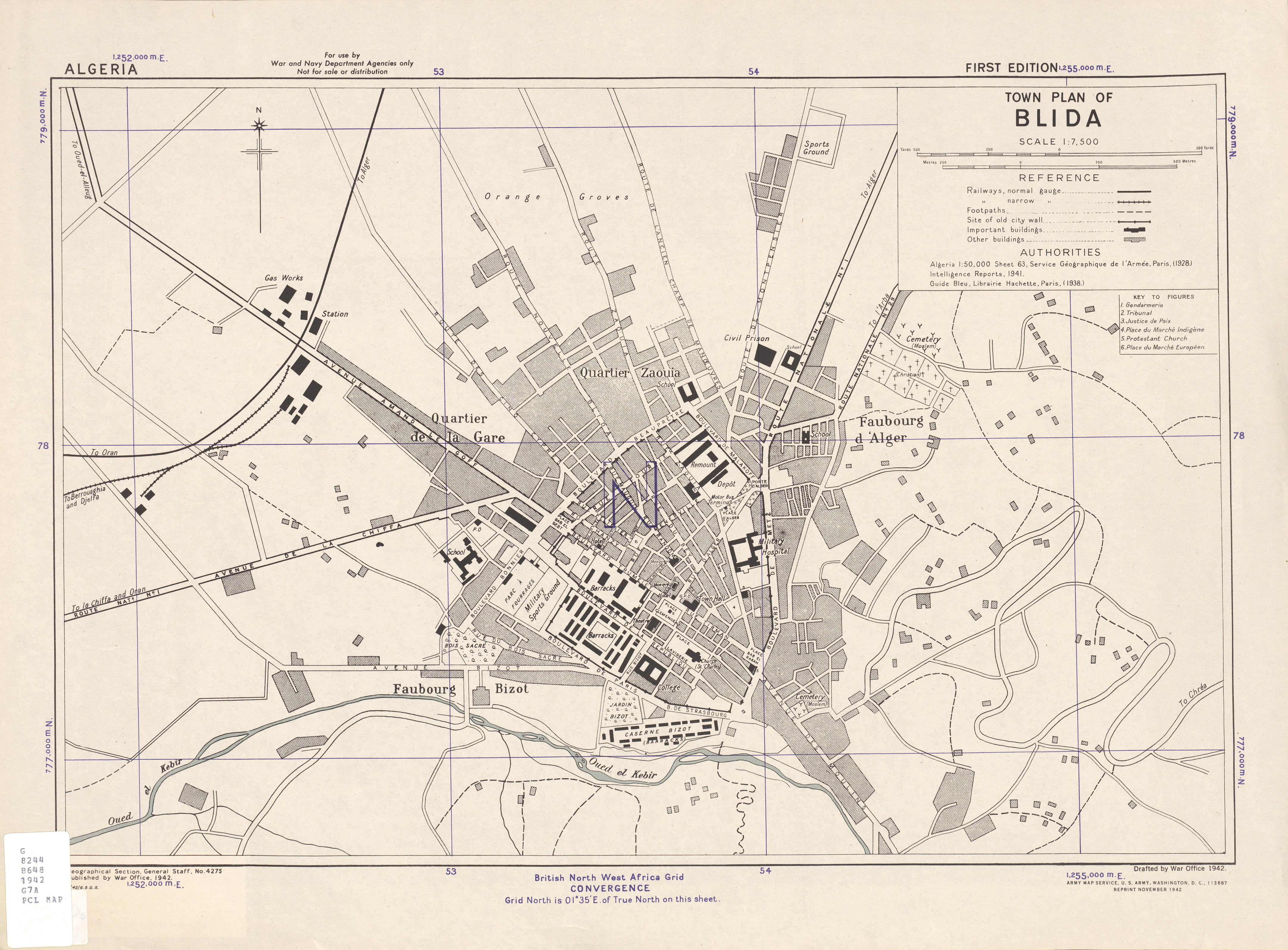 Mapa de la Ciudad de Blida, Argelia 1942