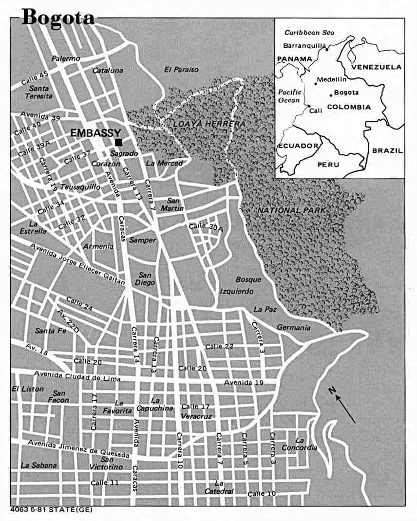 Mapa de la Ciudad de Bogotá, Colombia