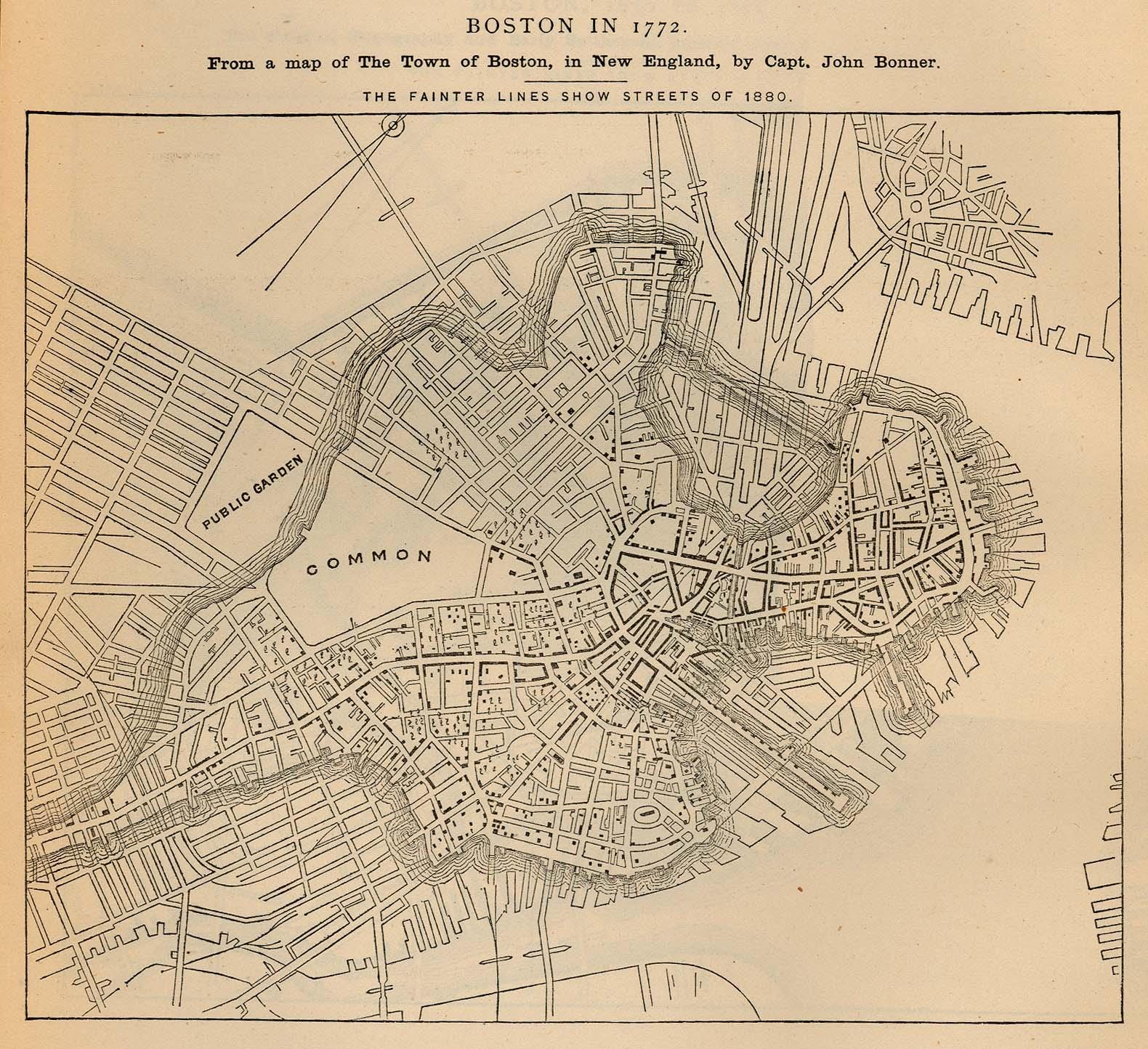 Boston City Map, Massachusetts, United States 1772