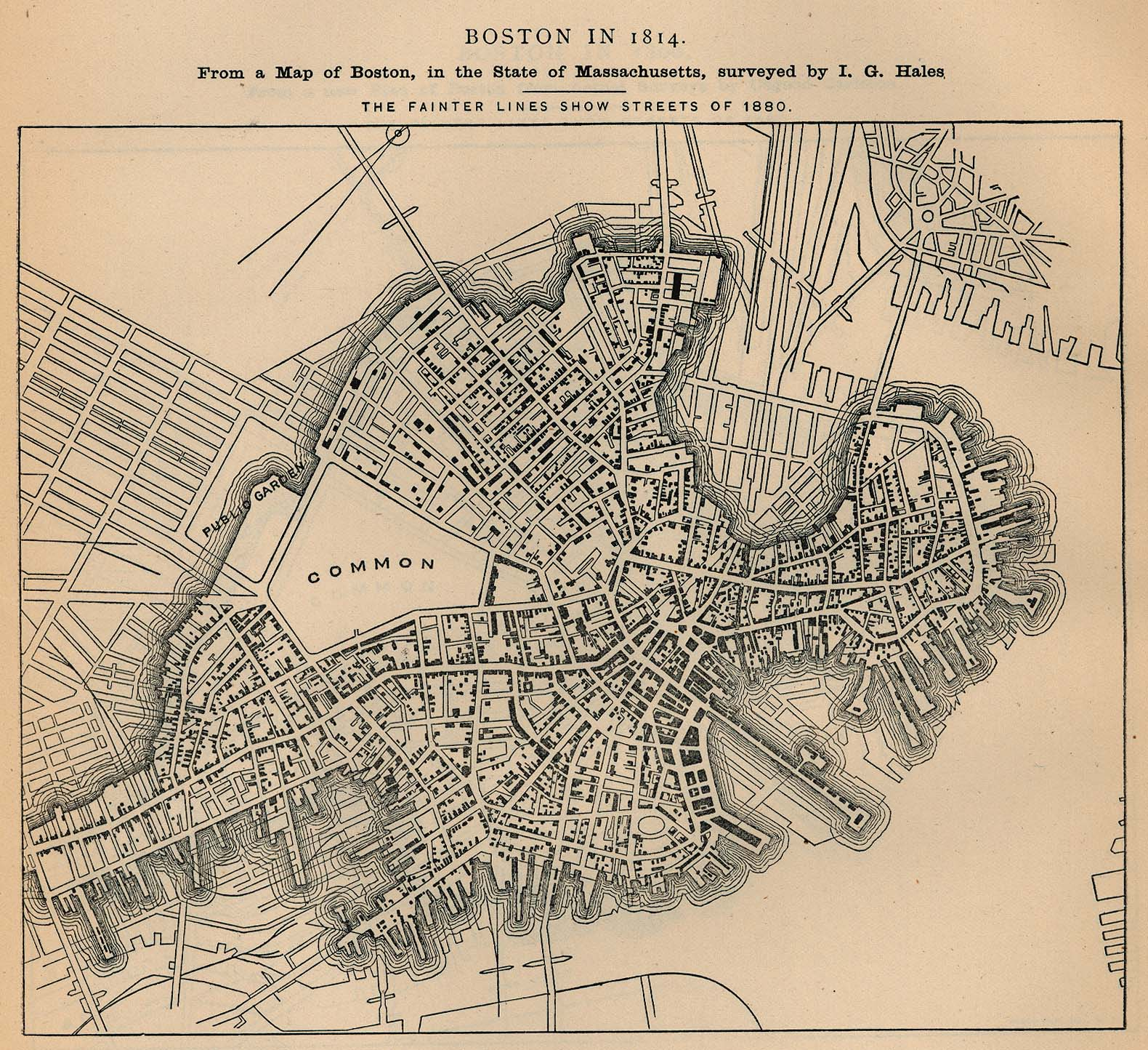 Boston City Map, Massachusetts, United States 1814