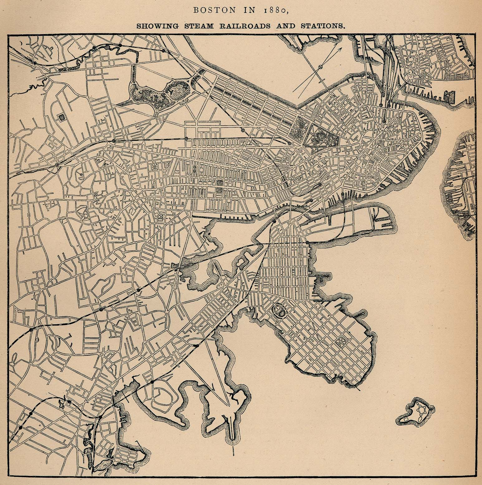 Boston City Map, Massachusetts, United States 1880