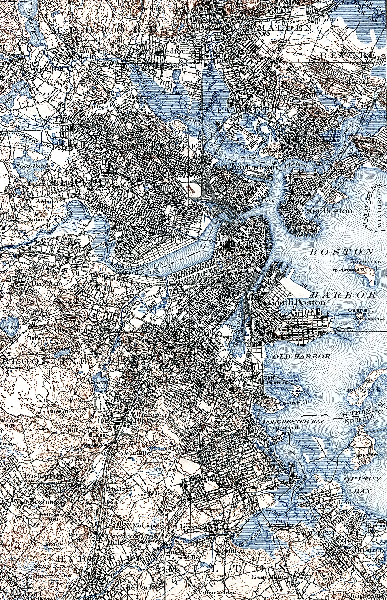 Mapa de la Ciudad de Boston, Massachusetts, Estados Unidos 1903