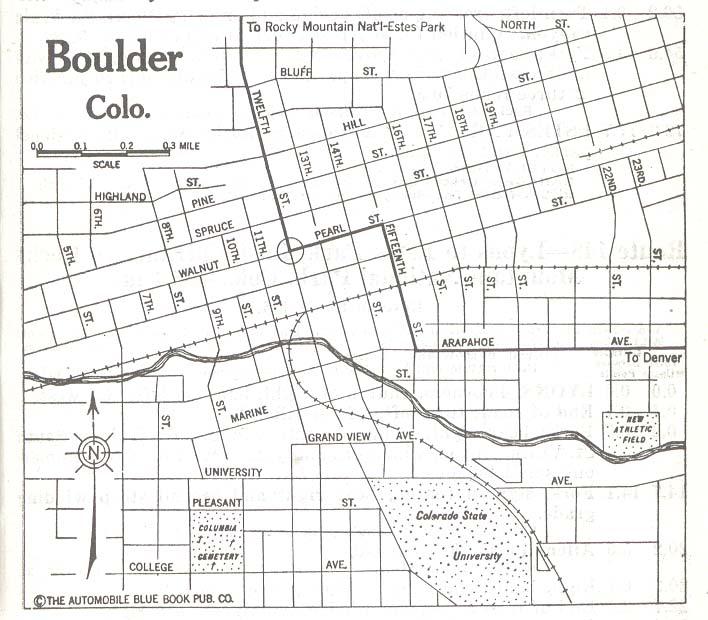 Mapa de la Ciudad de Boulder, Colorado, Estados Unidos 1920
