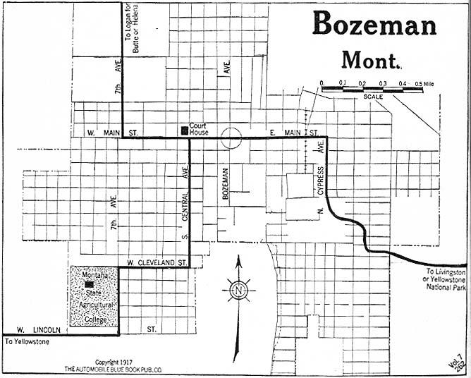 Mapa de la Ciudad de Bozeman, Montana, Estados Unidos 1917