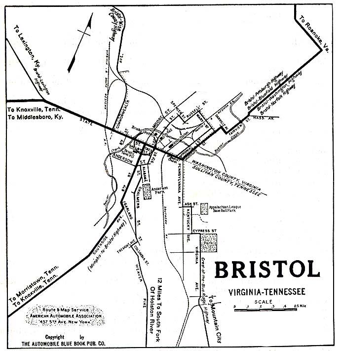 Mapa de la Ciudad de Bristol, Virginia, Tennessee, Estados Unidos 1919