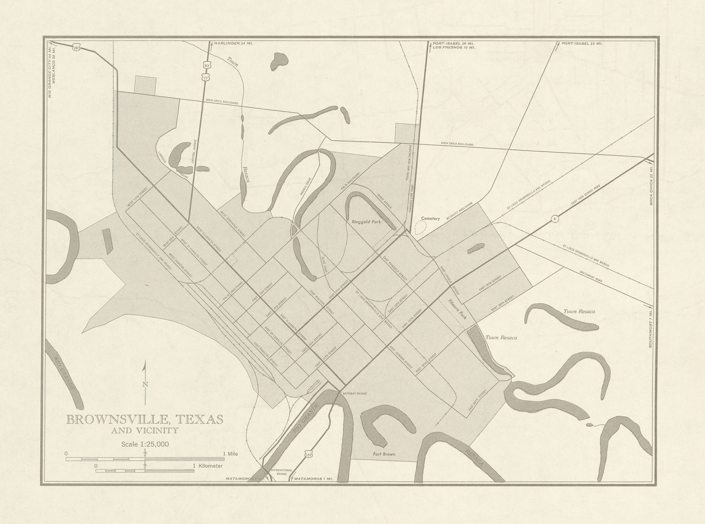 City Map of Brownsville and Vicinity, Texas, United States 1953