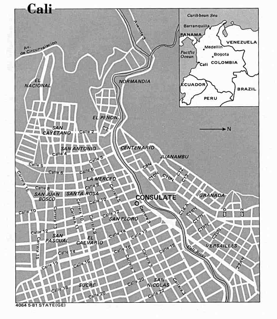 Mapa de la Ciudad de Cali, Colombia