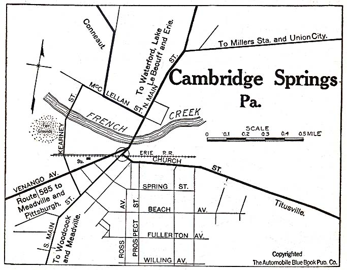 Cambridge Springs City Map, Pennsylvania, United States 1920