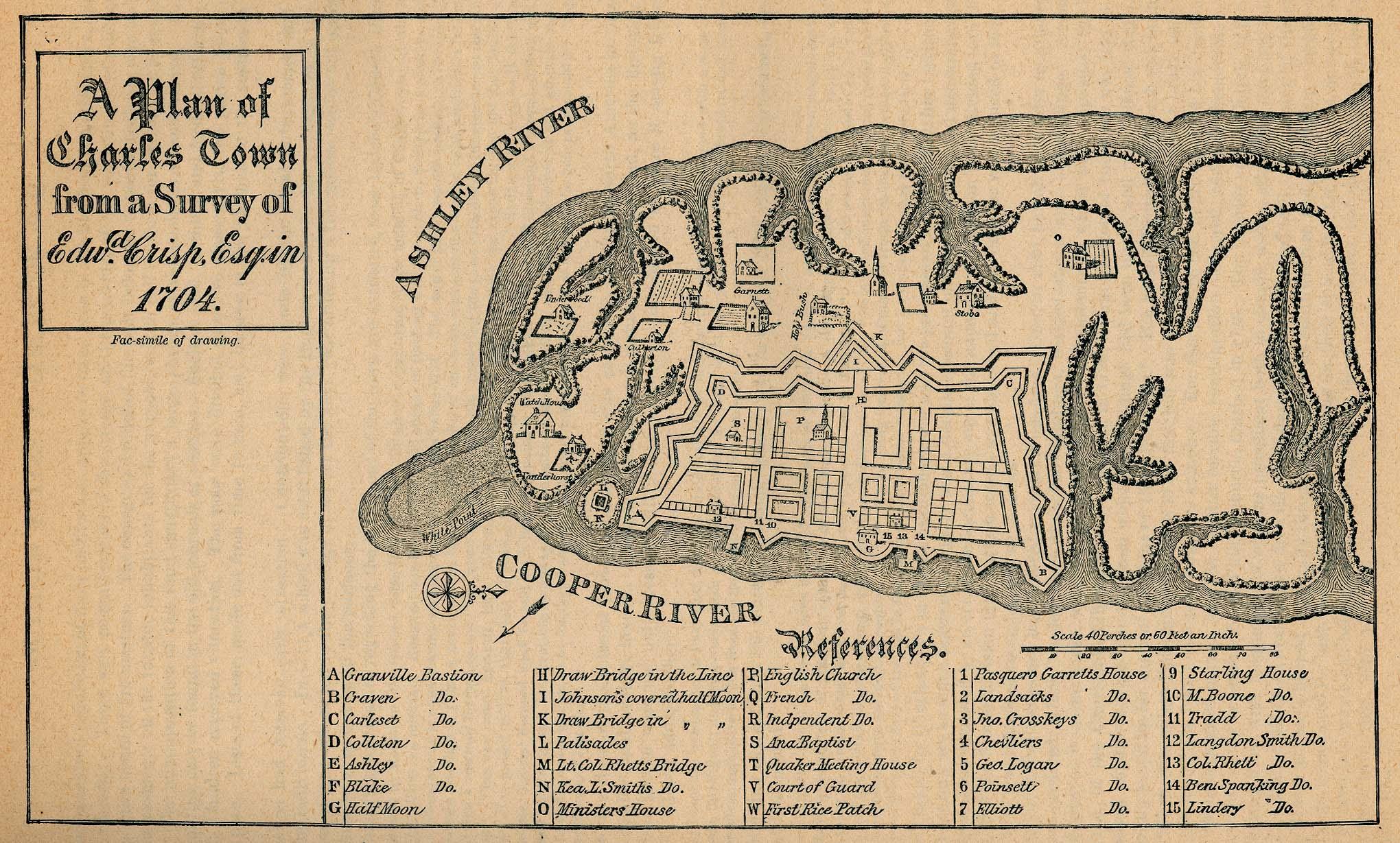 Mapa de la Ciudad de Charleston, Carolina del Sur, Estados Unidos 1704